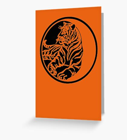 Tiger Tattoo - Black Greeting Card