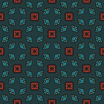 Geometric pattern green retro style blue tail by xsylx