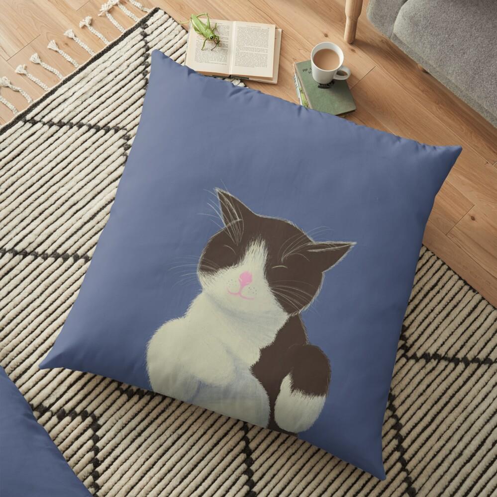 Gato blanco y negro Cojines de suelo