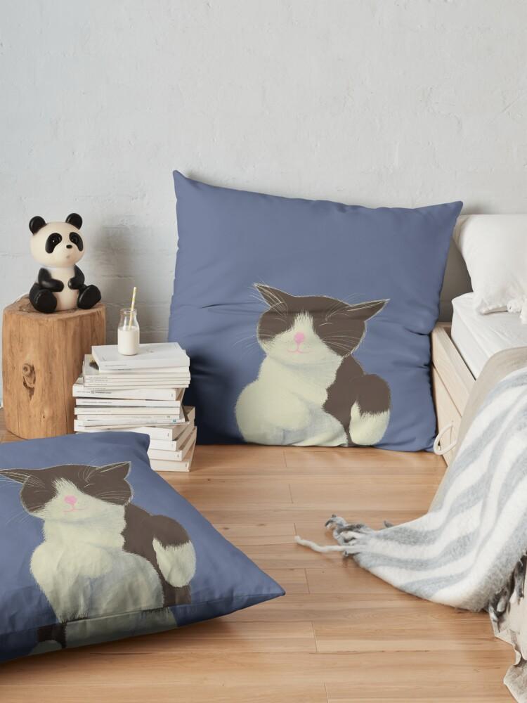 Vista alternativa de Cojines de suelo Gato blanco y negro