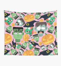 Halloween Pattern Tile (pink) Wall Tapestry