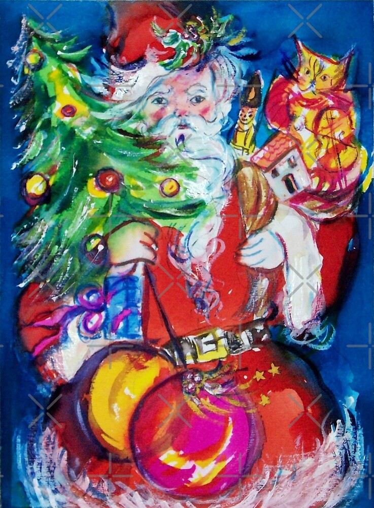 SANTA WITH CHRISTMAS TREE AND GIFTS by BulganLumini