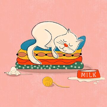 Sleeping white cat illustration by ShowMeMars