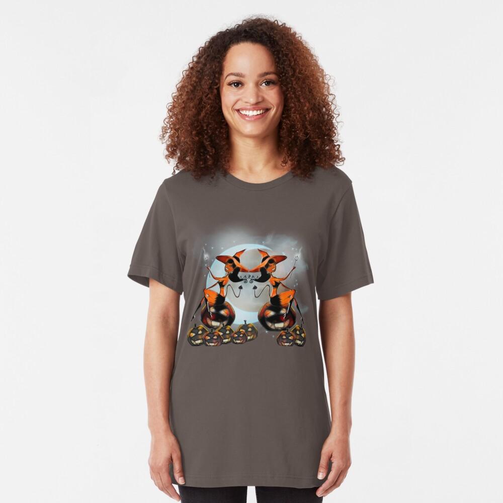 Devil Girl - Halloween Pumpkins Slim Fit T-Shirt