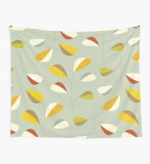 Mid Century Modern Graphic Leaves Pattern 1. Vintage green Wall Tapestry
