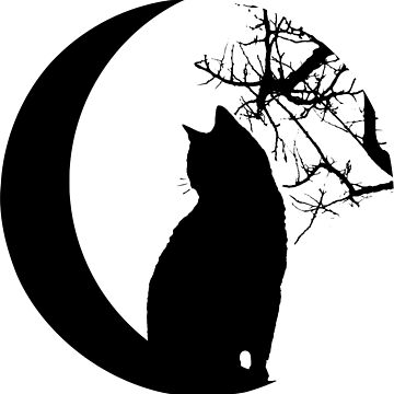 cat graphic with moon and tree in sphere by xsylx
