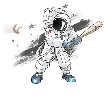 Baseball Astronaut in Outer Space Tshirt Tees by noirty
