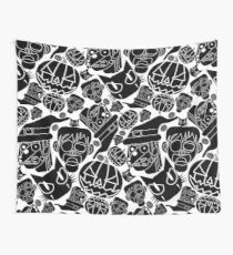 Halloween Pattern (White and Black) Wall Tapestry