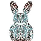 Mandala Rabbit Chocolate and Tuquoise by lyndseyart