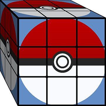 Poke Ball Rubik's Cube by asimof009