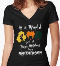 In A World Full Of Basic Witches Be A T-Shirt Halloween Tee Women's Fitted V-Neck T-Shirt