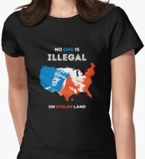 No One Is Illegal On Stolen Land Women's Fitted T-Shirt