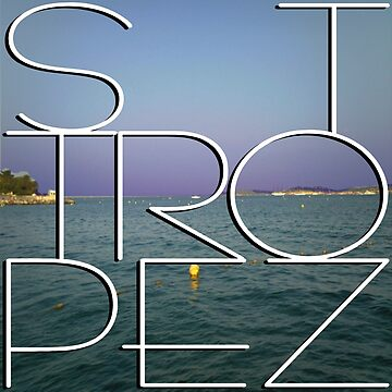 St. Tropez at night with white text by robelf