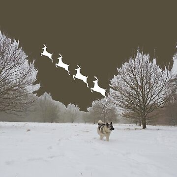 Reindeer Departure (With Elkhound) by CreativeEm