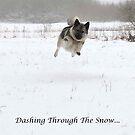 Elkhound Dashing Through The Snow by CreativeEm