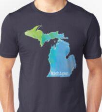 Camiseta ajustada Contorno de acuarela de Michigan
