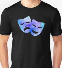 Watercolor Theatre Masks Slim Fit T-Shirt