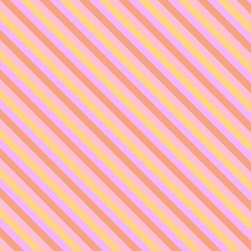 Hibiscus Hawaiian Flower Diagonal Cabana Stripes in Pink, Yellow, Peach and Lilac by podartist