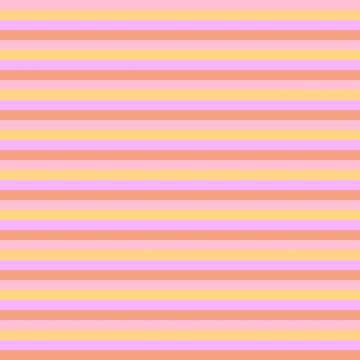 Hibiscus Hawaiian Flower Horizontal Cabana Stripes in Pink, Yellow, Peach and Lilac by podartist