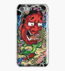 Hannya mask and Japanese dragon iPhone Case/Skin