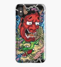 Hannya mask and Japanese dragon iPhone Case/Skin