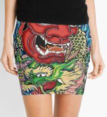 Hannya mask and Japanese dragon Mini Skirt