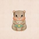 Cute Mom Hamster knits blue sweater with a yellow heart by Monica Michelle