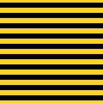 Yellow and Black Honey Bee Horizontal Beach Hut Stripes by podartist