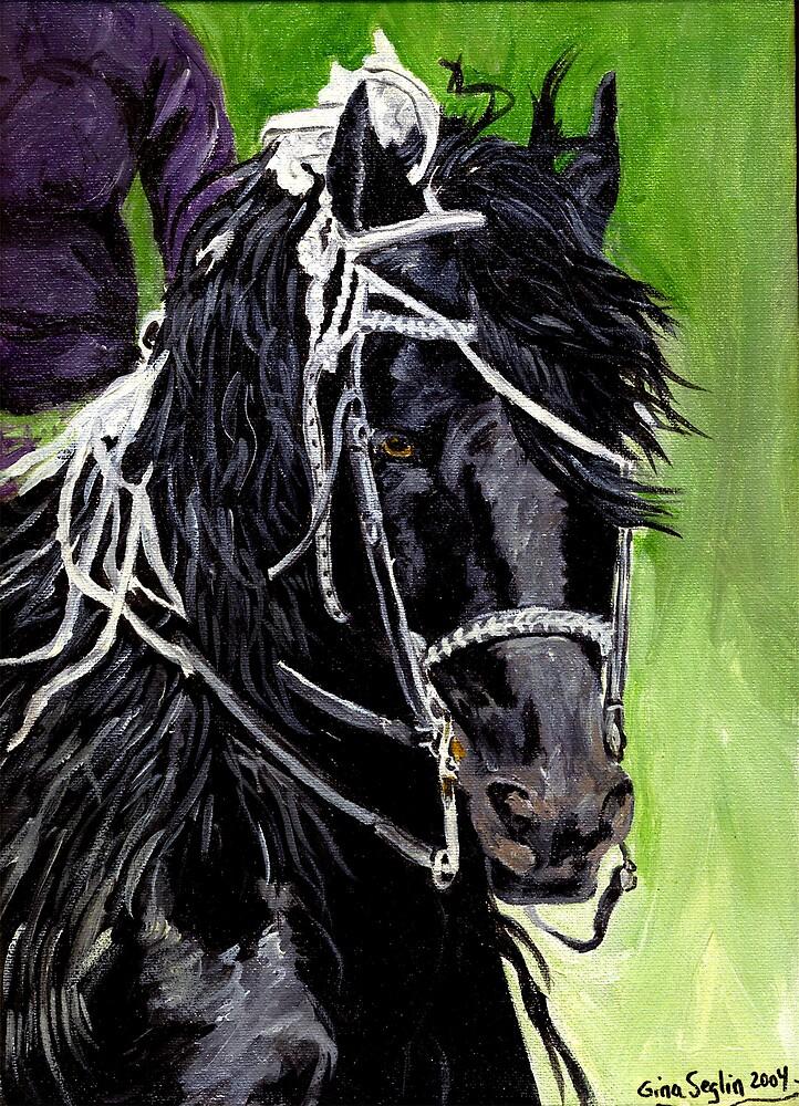 Freisian Horse Portrait by Oldetimemercan