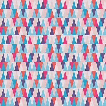 Blue & Pink Geometric Triangle Pattern by quarantine81