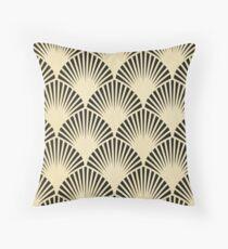 Art deco,black,beige,rustic,vintage,fan,pattern,elegant,chic Throw Pillow