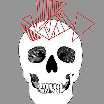Skull with Geometric Red Triangles by Rocket-To-Pluto