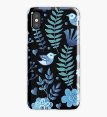Vintage floral pattern on a black background iPhone Case/Skin