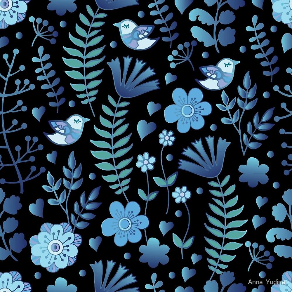Vintage Floral Pattern On A Black Background By Anna Yudina