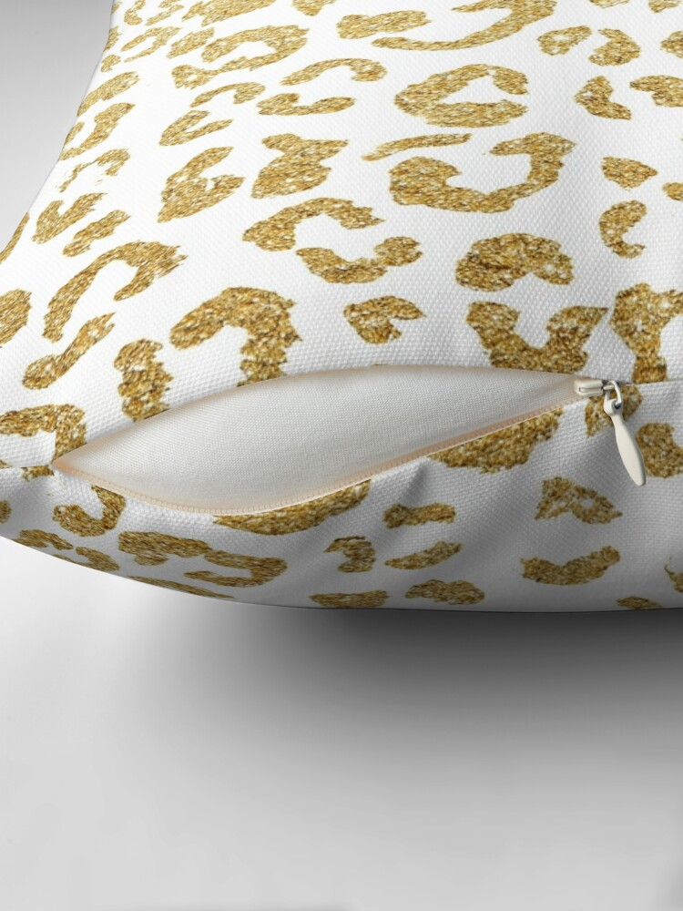 Alternate view of Modern leopard pattern luxury faux gold glitter Throw Pillow
