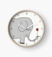 Elefant mit Blümchen Uhr