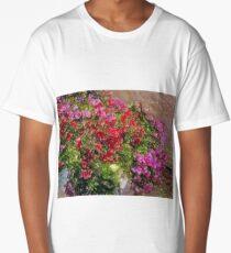 Red e Pink flower Long T-Shirt