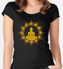 Buddha Meditation, Lotus Flower, Anahata, Heart Chakra Women's Fitted Scoop T-Shirt