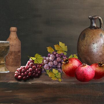 Painted Grapes and Pomegranates Still Life by JMarielle