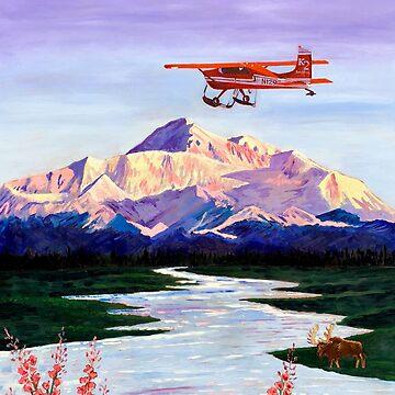 Denali Mountain Painting, K2 Aviation, Living Room Painting, Alaska Mountain, Gift for Pilot, Scott Clendaniel, Alaska Aviation, Mt McKinley by realartisbetter