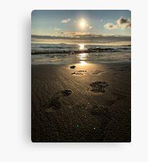 Footprints on a Beach Canvas Print