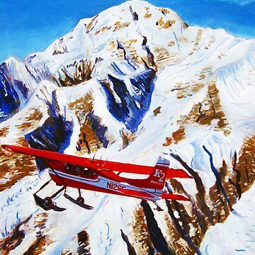Denali Mountain Painting, K2 Aviation, De Havilland Beaver, Alaska Mountains, Gift for Pilot, Scott Clendaniel, Alaska Aviation, Mt McKinley Active by realartisbetter