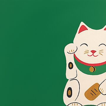 Green Lucky Cat Maneki Neko by Brushedinbold