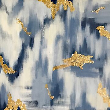 Blue and Gold Ikat by Brushedinbold