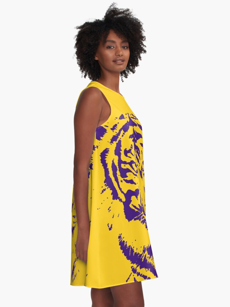 Alternate view of Royal Tiger Gameday Dress | Bayou Bengal Purple A-Line Dress