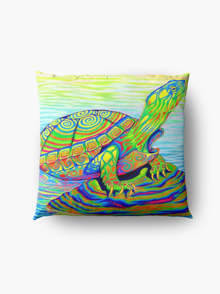 Alternate view of Psychedelic Rainbow Colorful Neon Painted Water Turtle Floor Pillow
