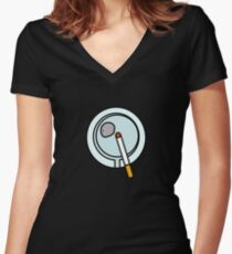 ASHTRAY CIGARETTE SMOKE  Women's Fitted V-Neck T-Shirt