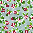 Cranberry Fruit Pattern on Blue Grey by tanyadraws