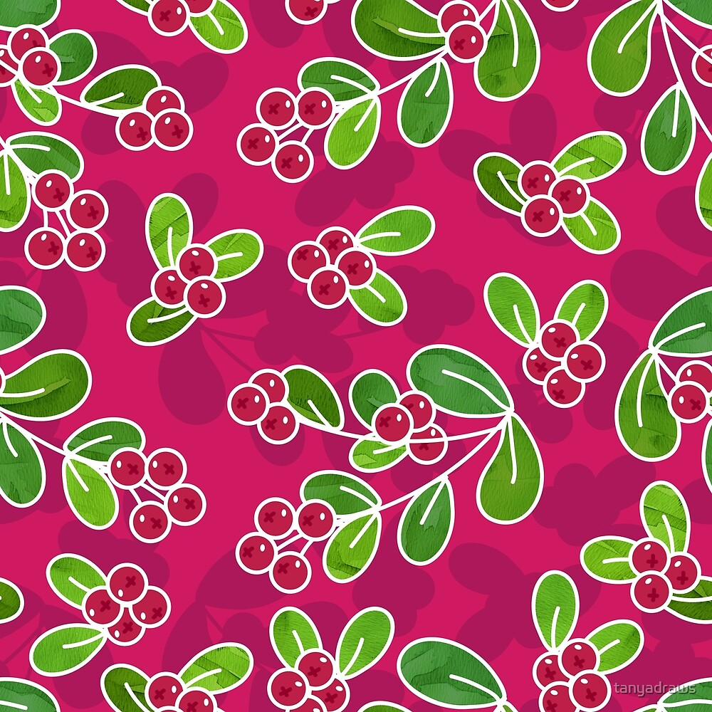 Cranberry Fruit Pattern on Fuchsia by tanyadraws