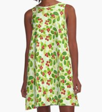 Cranberry Fruit Pattern on Green A-Line Dress